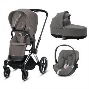 Cybex - BU325 - Poussette pack travel Priam, nacelle et siège auto - Chrome noir, soho grey (426810)