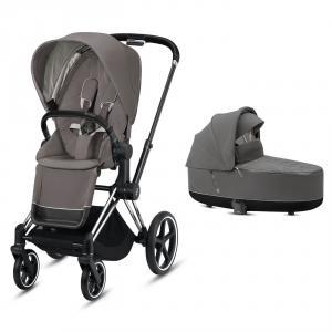 Cybex - BU328 - Pack poussette 2en1 confortable Priam avec nacelle - Chrome noir, soho grey (426816)