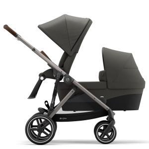 Cybex - BU453 - Poussette duo 2 enfants Gazelle S avec nacelle - Taupe Soho grey - gris (456022)