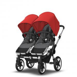 Bugaboo - BU362 - Poussette pour jumeaux Donkey 3 twin avec nacelles - gris chiné - rouge (456958)