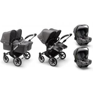 Bugaboo - BU364 - Pack poussette Donkey3 jumeaux, nacelles et sièges auto Turtle Air - gris chiné (456962)